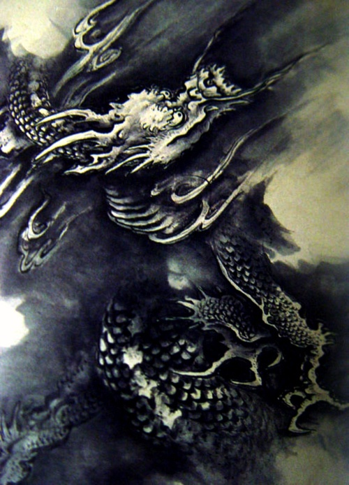 Kano Hogai, Japanese dragon, possibly from the Nine Dragons screen