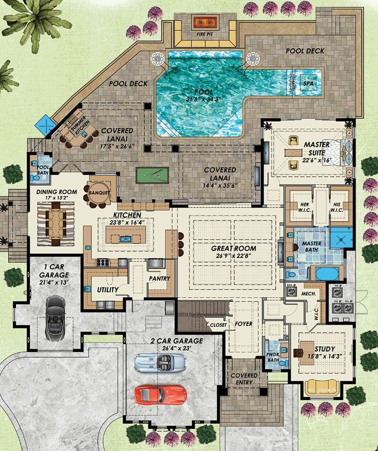 Florida Mediterranean Level One Of Plan 71537 Home Plan