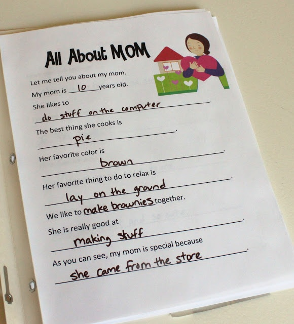 "Preschool Mother's Day project - ""All About Me"" books."