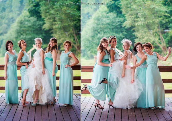 подружки невесты в мятном #wedding #bridesmaid #vintage
