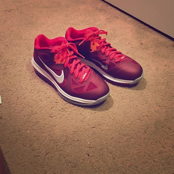 Size 9  Men Nike Lebron 9 Low Top These maroon, red, and orange Nike Lebrons are very comfortable and are in perfect condition. Nike Shoes Athletic Shoes