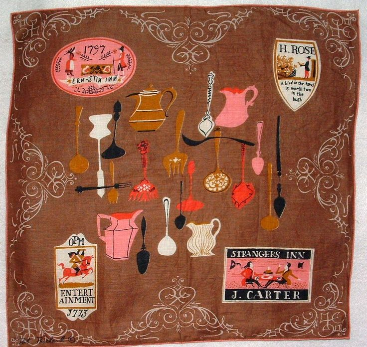 The Literate Quilter: Nostalgic Images on Mid-Century Handkerchiefs
