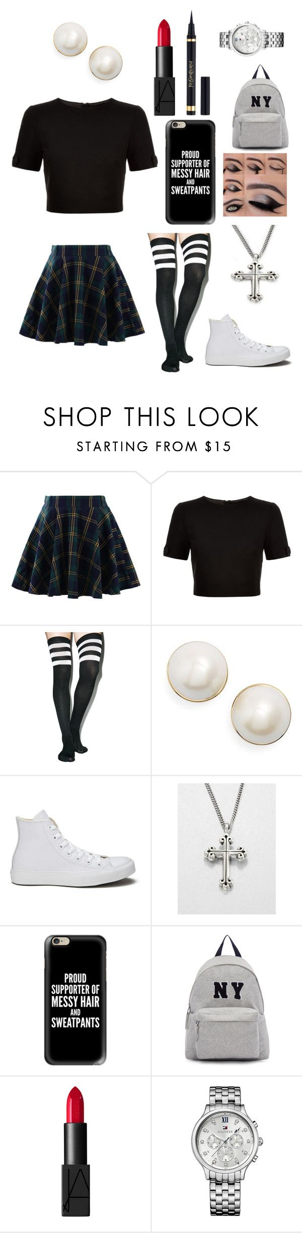 """""""Private school"""" by malrocks2003 ❤ liked on Polyvore featuring Chicwish, Ted Baker, Leg Avenue, Kate Spade, Converse, King Baby Studio, Casetify, Joshua's, NARS Cosmetics and Tommy Hilfiger"""