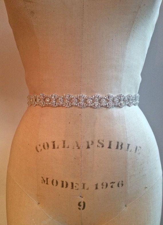 Beautiful Art Deco Inspired Rhinestone Crytal Beaded Bridal Sash Belt-Art Deco Vintage Beaded Rhinestone Crystal Gatspy Bridesmaid Belt Sash