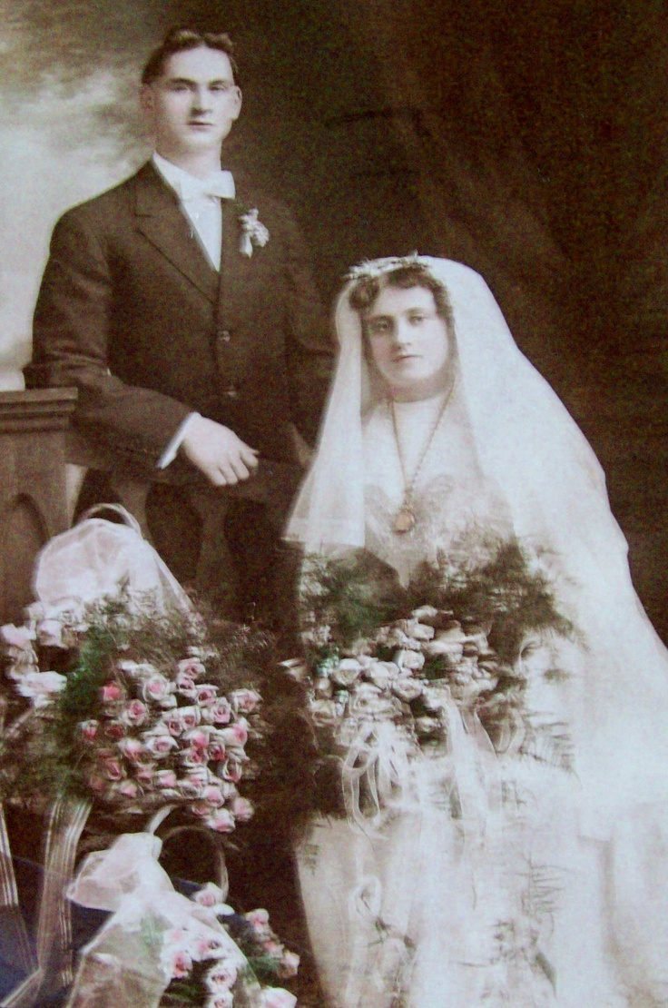 Antique Wedding Photograph, Bride and Groom Photo with ...