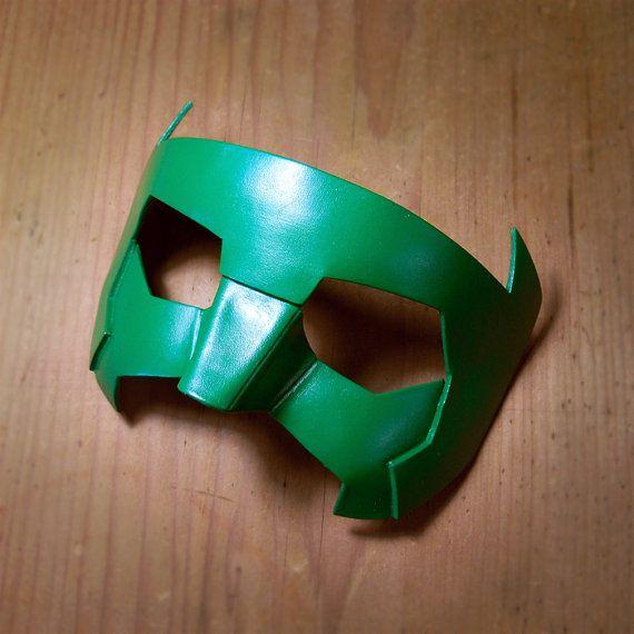 Green Lantern Mask Kyle Rayner New Guardians Leather by LMEmasks