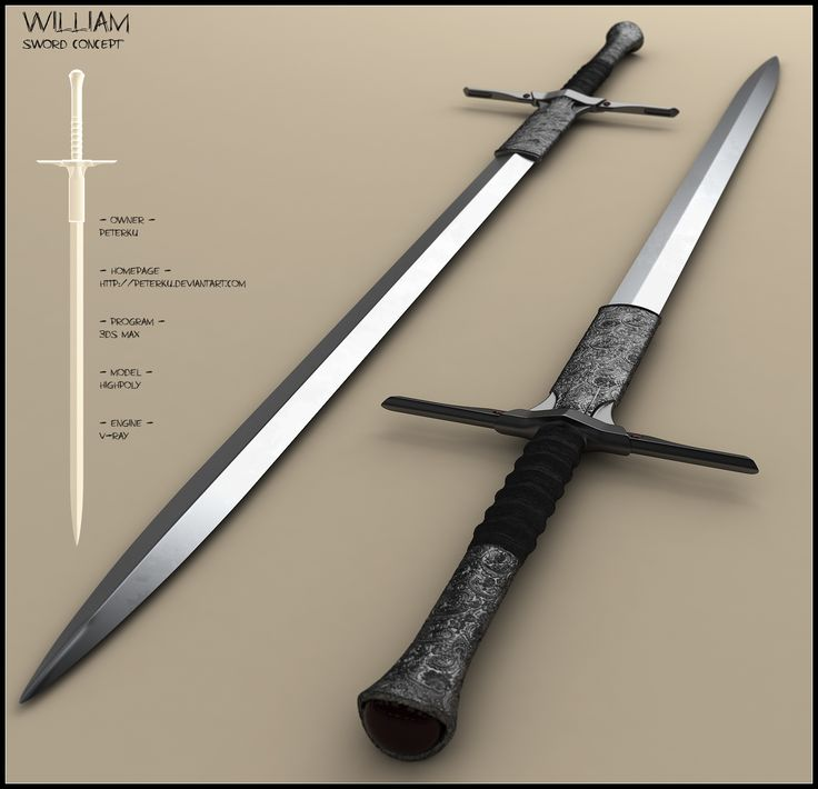 William by peterku longsword shortsword long short sword equipment gear magic item | Create your own roleplaying game material w/ RPG Bard: www.rpgbard.com | Writing inspiration for Dungeons and Dragons DND D&D Pathfinder PFRPG Warhammer 40k Star Wars Shadowrun Call of Cthulhu Lord of the Rings LoTR + d20 fantasy science fiction scifi horror design | Not Trusty Sword art: click artwork for source