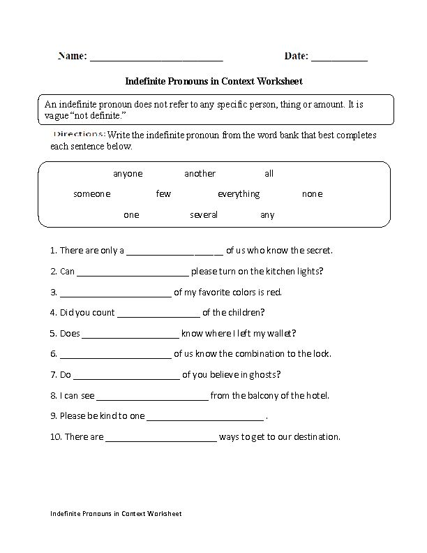 Indefinite Pronouns In Context Worksheet