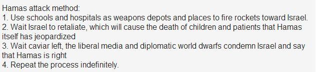 Método Hamas de ataque: 1. Use escolas e hospitais como depósitos de armas e locais para disparar mísseis em direção à Israel. 2. Aguarde Israel revidar, o que irá causar a morte das crianças e doentes que o próprio Hamas colocou em risco 3. Aguarde a esquerda caviar, a mídia esquerdista mundial e anões diplomáticos condenarem Israel e dizer que o Hamas está certo 4. Repita o processo indefinidamente.