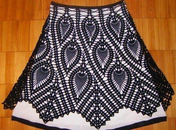 Patrón crochet de fantástica falda con diseño de piñas   Crochet y dos agujas