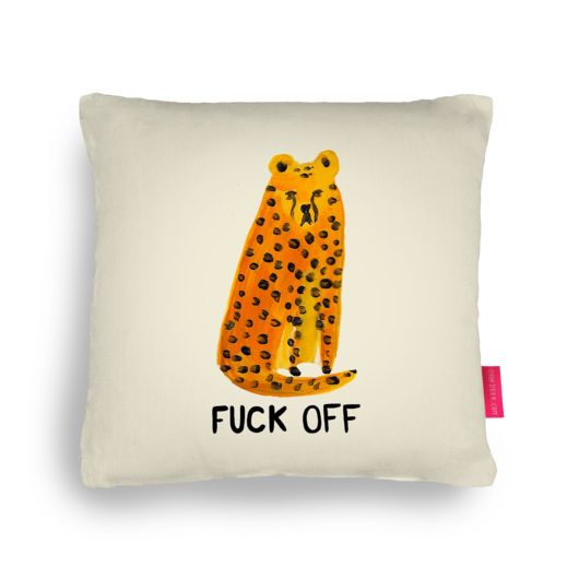 Quirky Illustrated Gifts | F*ck Off Cheetah Cushion | Laura Gee | Valentines | Cushions | Homeware | Ohh Deer