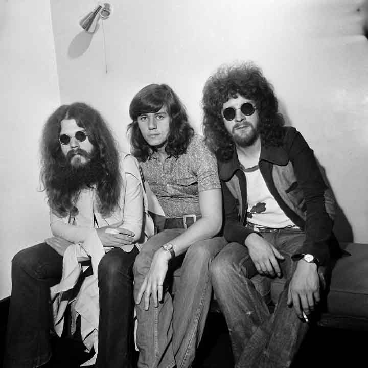 British musicians Roy Wood, Bev Bevan, and Jeff Lynne of the rock group Electric Light Orchestra.