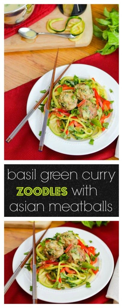 Basil green curry zoodles with asian meatballs recipe for Zoodles kitchen set