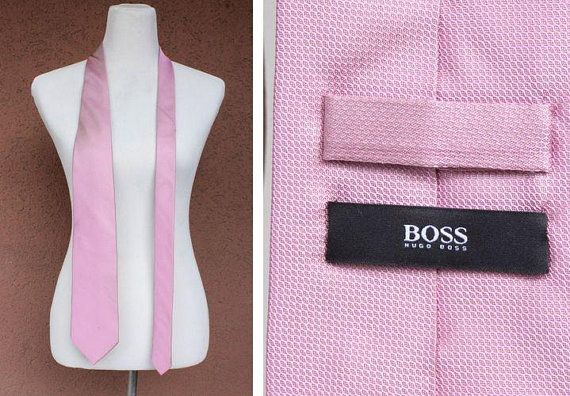 Vintage Hugo Boss Light Pink Silk Tie