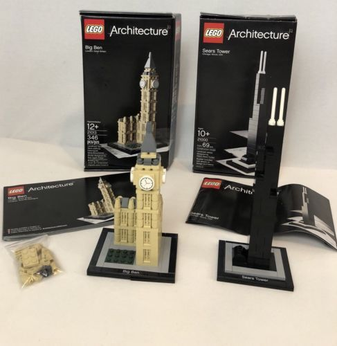 LEGO Architecture Sears Tower Big Ben Complete Sets Boxes Instructions Retired