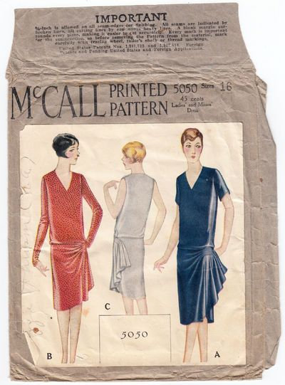 McCall 5050 1920's Dress Sewing Pattern. Designed by House of Worth.