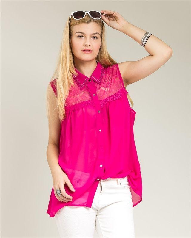 71d1c71d Roman Hot Pink Studded Lace Yoke Sleeveless Button Down Sheer Top Size  1X-3X #RomanFashions… | LADY CONSTANZE STORE Plus Size, Misses & Junior  Fashions ...