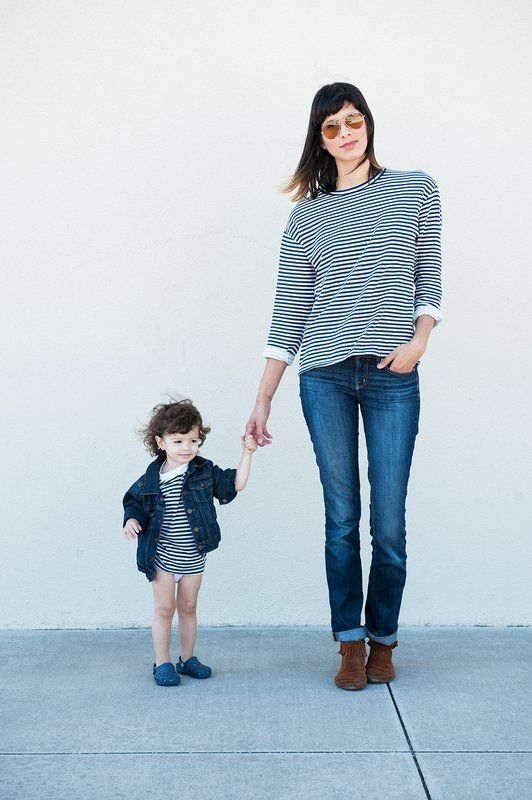 Mom and Tot Twinning: The Classic Stripes and Denim Combo - mom.me