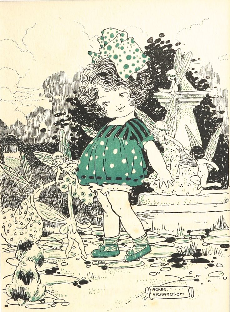 Vintage print of illustration by Agnes Richardson door CardCurios