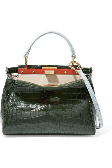 222c8d858fd4 Fendi - Peekaboo Mini Crocodile Shoulder Bag - Dark green ...
