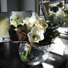 Amaryllis Flower Arrangement in Goldfish Bowl Vase