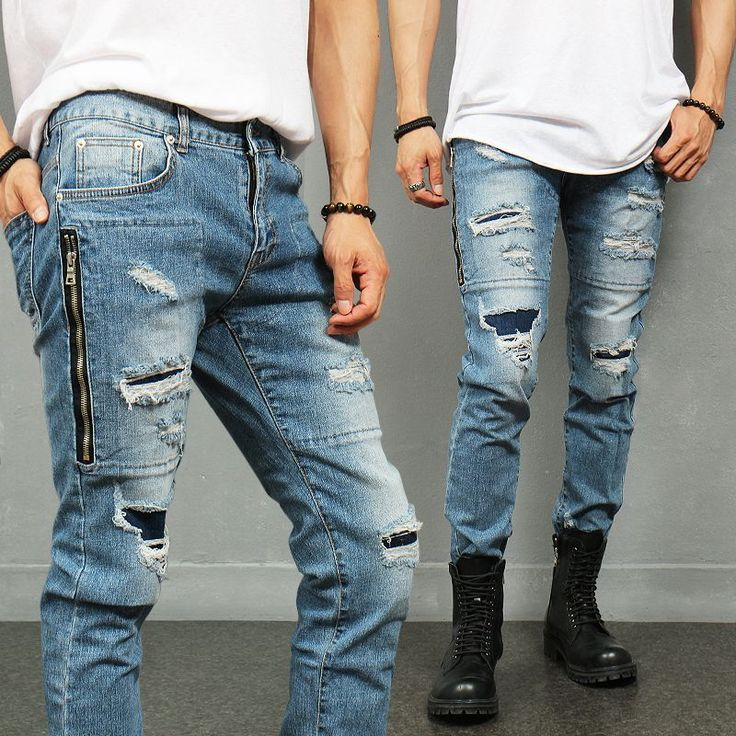 Vintage Distressed Ripped Thigh Zipper Slim Blue Jeans 865 via SNEAKERJEANS STREETWEAR SHOP