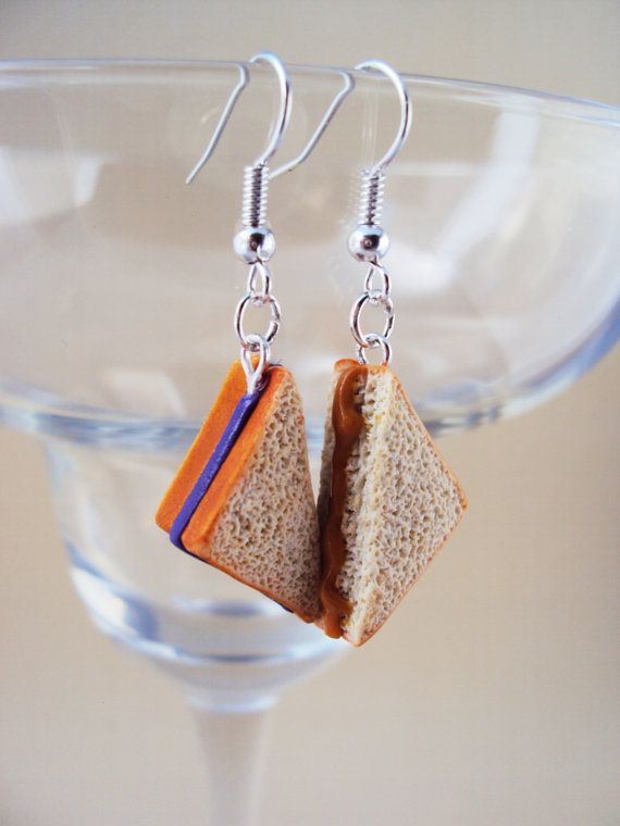 Food Jewelry. Peanut Butter and Jelly Polymer Clay Earrings by MyMiniMunchies, Polymer clay charms.