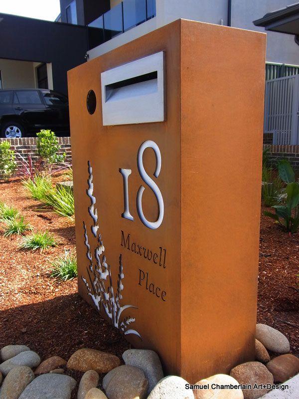 Corten letterbox by Samuel Chamberlain - Corten and Stainless steel