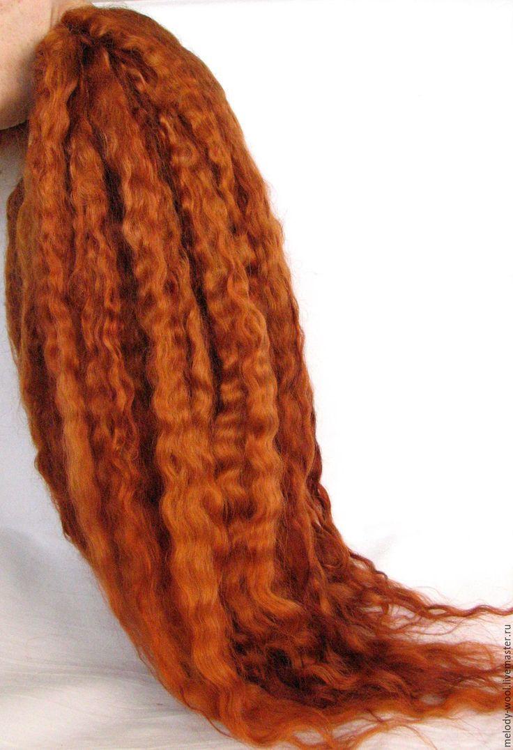 Купить или заказать Кудри Линкольн Лонгвула ручного окрашивания РЫЖИЕ в интернет-магазине на Ярмарке Мастеров. Кудри Линкольн Лонгвула ручного окрашивания. Окрашивание стойкими слабокислотными красителями для шерсти и шелка производства Англии Eurolana dyes. Могут использоваться для кукольных волос, для декора. Очень длинные ,красивые кудри -крупная ,мягкая волна.Длина прядей около 45-50 см.Цвет-рыжий.Прядочки имеют немного разную насыщенность цветлом.Кудри разобраны на пряди ,расчёсаны…