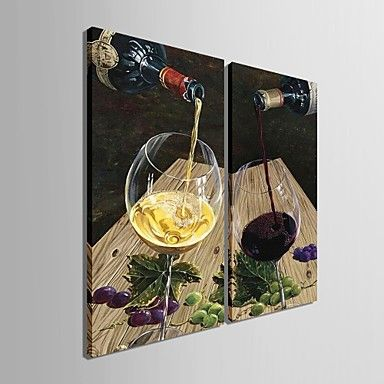 Personalized Canvas Print A Glass Of Red Wine 30x 60cm 40x80cm Framed Canvas Painting Set of 2 - USD $ 30.99