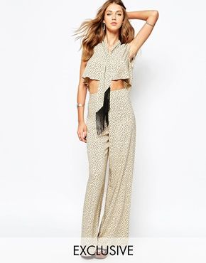 Reclaimed Vintage High Rise Palazzo Trousers Co-Ord In Polka Dot Print