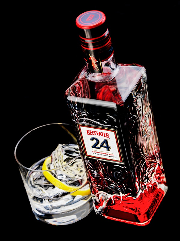 Gin Beefeater 24 on black background