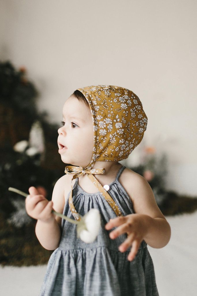 Refashion an old shirt into something like this: Briar Organic Floral Bonnet in Buttercup