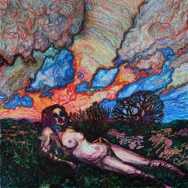 "Saatchi Art Artist Oksana Reznik; Drawing, ""landscape with nude"" #art"