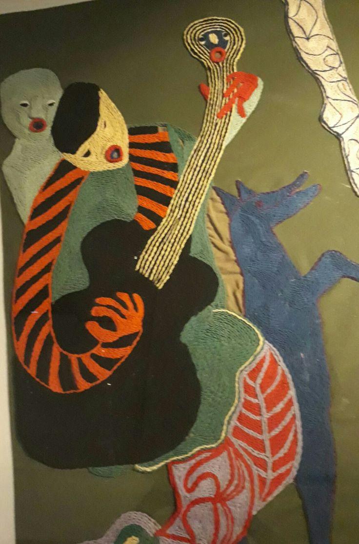 Detalle de arpillera Violeta Parra
