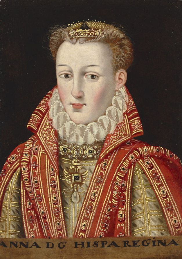 'Anna of Austria, Queen of Spain (1549-80)' (c.1600) by Spanish school. Oil on wood panel, 11.5 by 8 in. via Grand Ladies