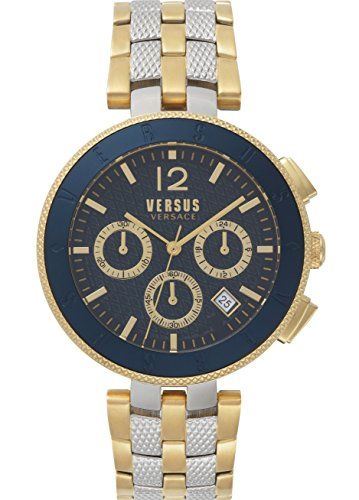 Versus Logo montre homme chronographe IP Doré Cadran bleu avec bracelet en acier  inoxydable Sp762518   Montres Analogique   Chronograph, Versace et Watches  ... 6cceb9bf8ee