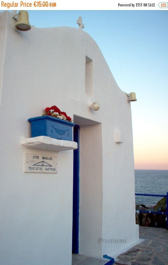 ON SALE photos 2016 Blue white summer, travel photo print, summer photo, Greece , mediterranean, small white greek church, Saint Nicolas