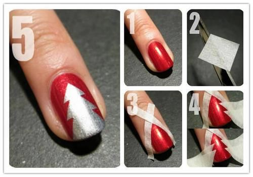 Diy christmas tree nails