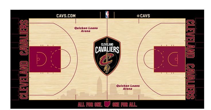 The Cavs' new black logo is front and center.