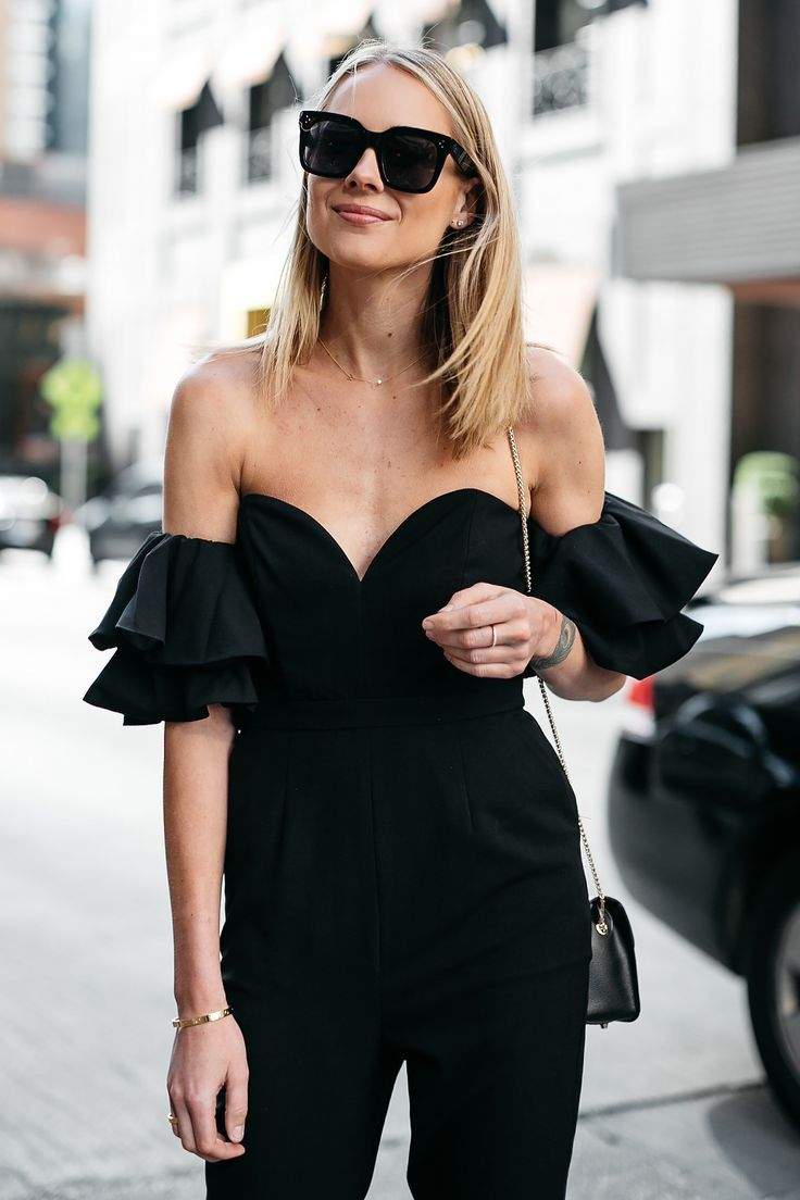 fb59f564f9b Blonde Woman Wearing Black off the Shoulder Jumpsuit Fashion Jackson Dallas  Blogger Fashion Blogger Street Style