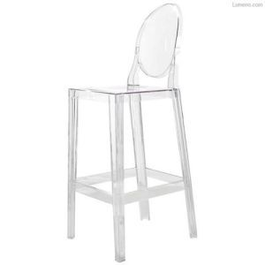 "Philippe Starck for Kartell ""One More"" Stool: They call this design the ""Ghost Chair"" for obvious reasons, the completely clear design just sort of fades into the background. Although it's a few seasons old it is still widely popular. It is a tall stool standing at 43"" with a full back to rest on. This would be a great stool for guests who are looking to relax and stay awhile. In regards to price it's a little higher end and the price can be steep if you are looking to purchase"