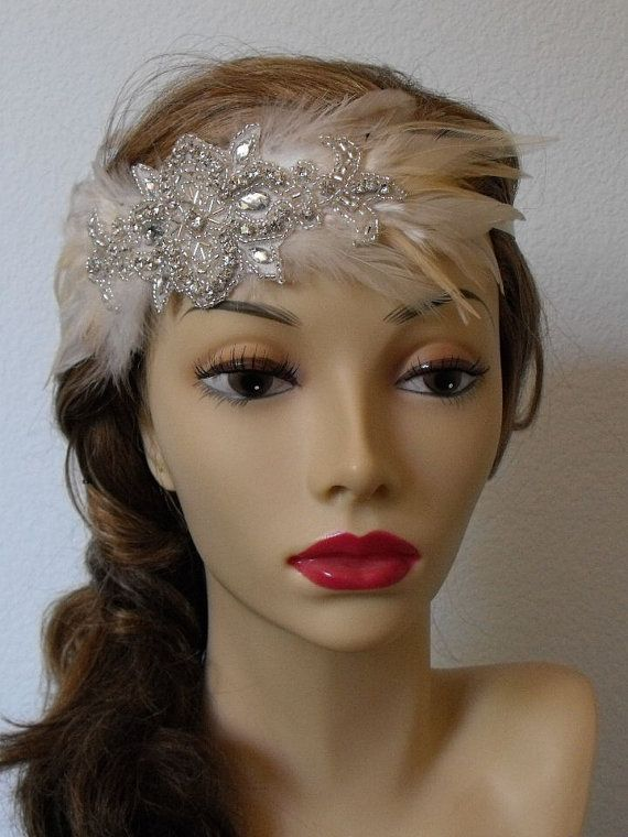 All time BEST SELLER, Feather Rhinestone Flapper headband, Vintage headpiece, Champagne and Ivory, Flapper Style, Style B030