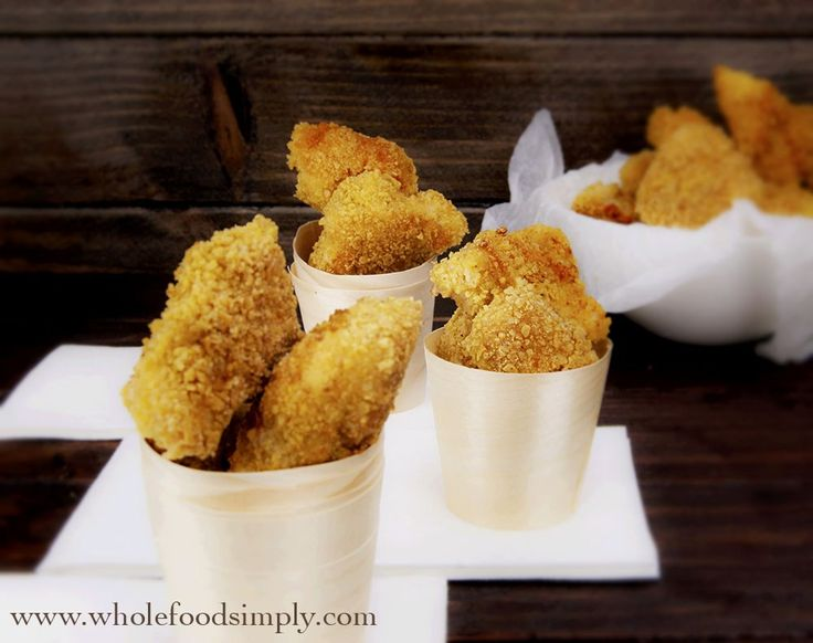 Crispy Chicken Nuggets.  So simple and delicious!  Free from gluten, grains, dairy, nuts and refined sugar.  Enjoy!