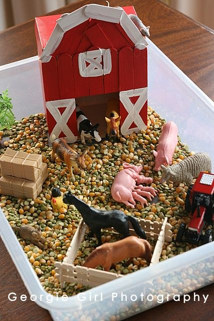 Farmyard Sensory Bin--cute.  This looks like it's all DIY except the plastic animals.  I was just saying today that I felt this bizarre mama guilt for not owning a farm-related toy.  Maybe we will do this since I have no intention of buying one :).