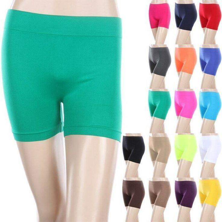 Seamless Basic Plain Solid Athletic Layering BIKER Shorts Leggings Spandex #fash…   – Biker Shorts