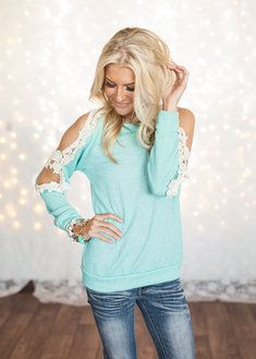 Modern Vintage Boutique - light teal top with lace and holes on the sleeves. :) <3 SUPER CUTE!!!!!!