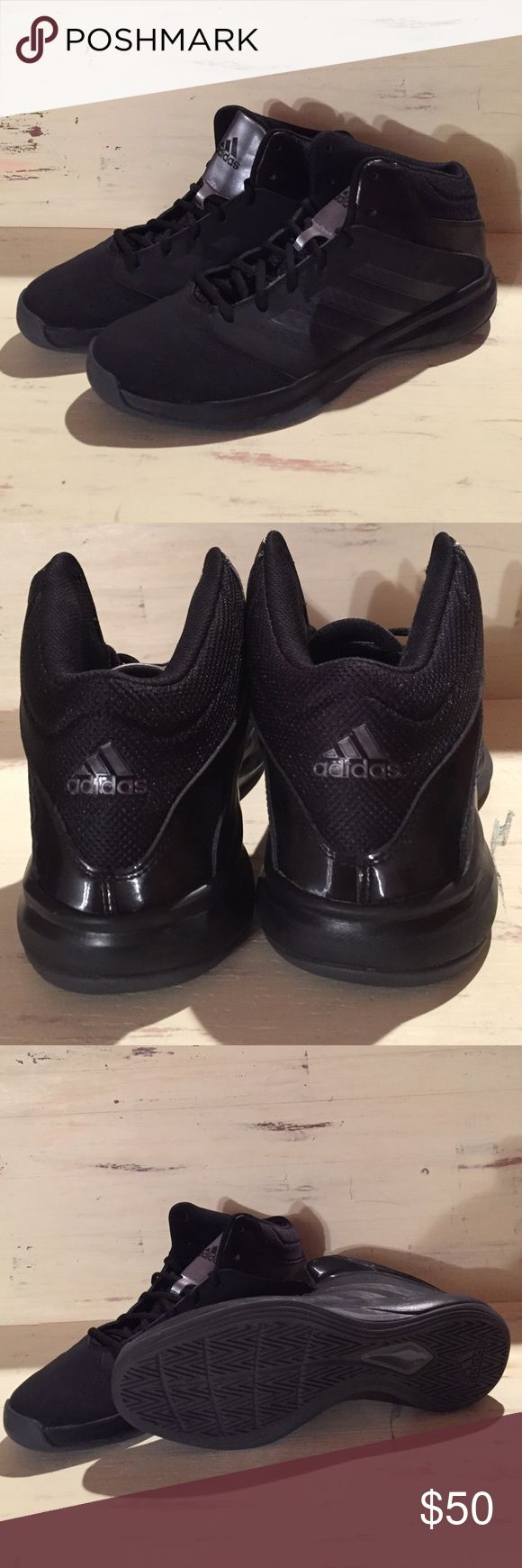 Adidas basketball shoes Like new, worn twice. In great condition. Men's Adidas basketball shoes. Black on black with silver on the tongue. 🏀I welcome all questions. Adidas Shoes Athletic Shoes