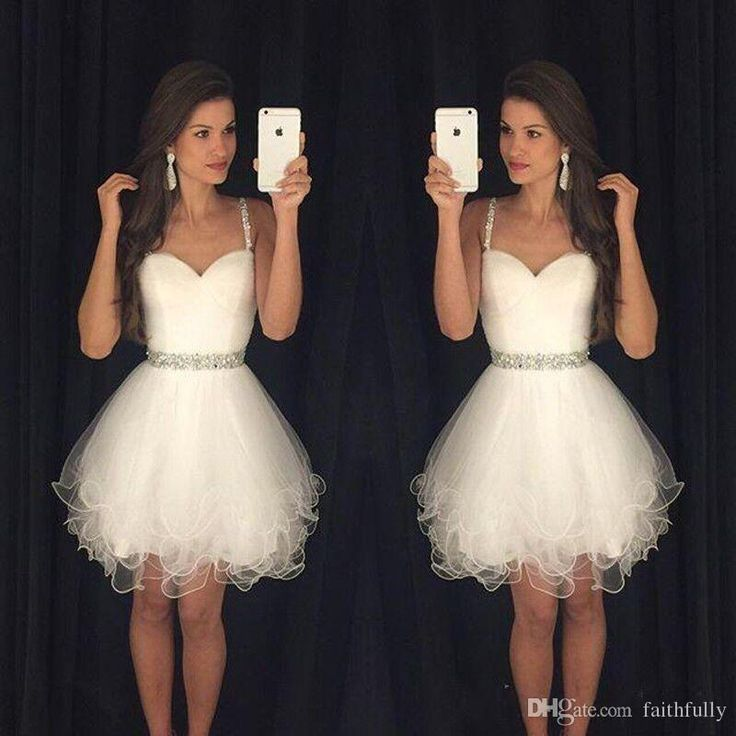 Spaghetti Straps White Homecoming Dresses 2017 Beading Waistline Tiered Tulle Dresses Sweet 16 Gowns Cocktail Short Semi Formal Dresses Cheap Cocktail Dresses Under 50 Cheap Cocktail Dresses Under 50 Dollars From Faithfully, $99.5| Dhgate.Com