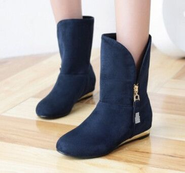 Women new fashion spring autumn hidden heels scrub short round toe low-heeled boots solid color shoes large plus size 40-43